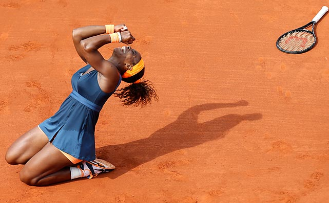 Serena Williams celebrates her first French Open title in 11 years after defeating Maria Sharapova in the final on June 8.