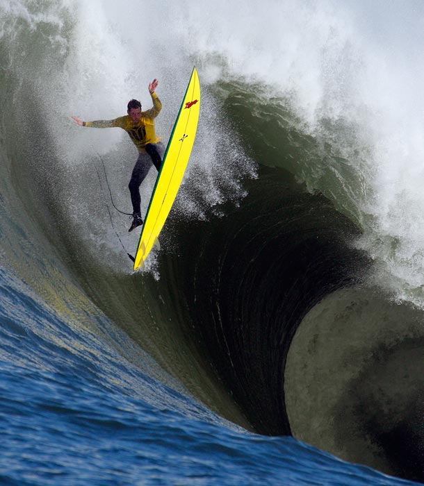 Surfer Ion Banner loses control on a giant wave during the 2010 Mavericks Invitational surf contest. The 2013 Mavericks Invitational occurred at the famous Mavericks break for the first time since 2010, when waves reached the required 20 feet. Mavericks' thunderous waves have claimed the lives of two expert big wave surfers.