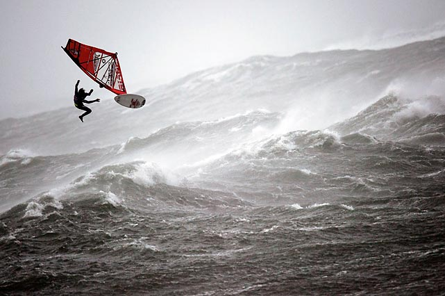 A windsurfer competes at the Red Bull Storm Chase at Brandon Bay, Ireland. Six of the 10 competitors advanced to the second mission, successfully battling 20-foot waves and wind gusts up to 74 knots (85 miles per hour) -- that's the same wind speed as Superstorm Sandy.