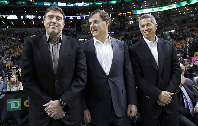 Celtics managing partner Wyc Grousbeck (left) with Bob Higgins (center) and team co-owner Mark Wan.