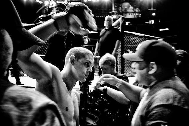 Nick Gullo's book, Into the Cage, is chock full of photos he's taken over the years at MMA events and behind the scenes. Here are a few that he shared with SI.com Joe Lauzon on-deck with coach Steve Maze.