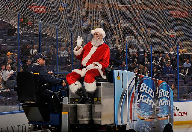 His holiday work done, ol' St. Nick went back to his day job resurfacing the ice at Scottrade Center in St. Louis, home of the Blues.