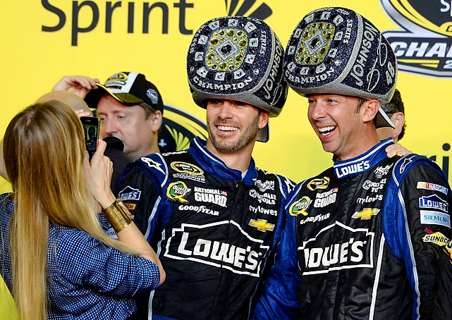 With six NASCAR Cup championships now to his credit, Jimmie Johnson stands with Chad Knaus.