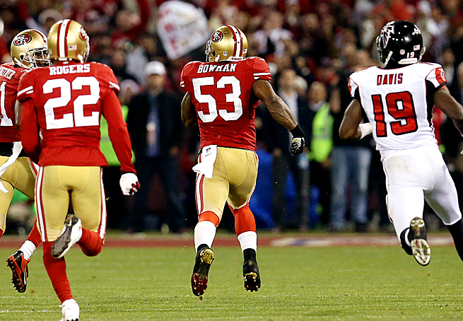 NaVorro Bowman intercepted Matt Ryan in the 49ers' final game at Candlestick Park, securing the 49ers playoff spot.