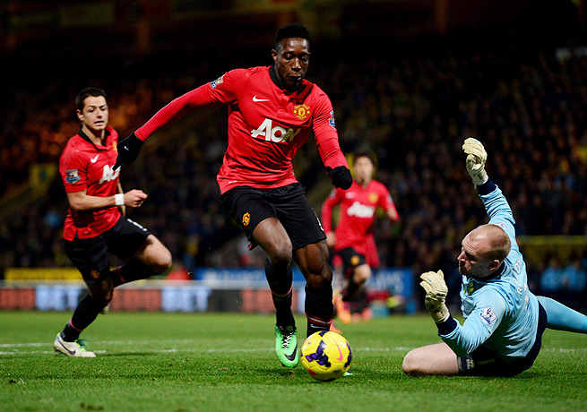 Danny Welbeck rounded John Ruddy to score the winning goal for Manchester United.