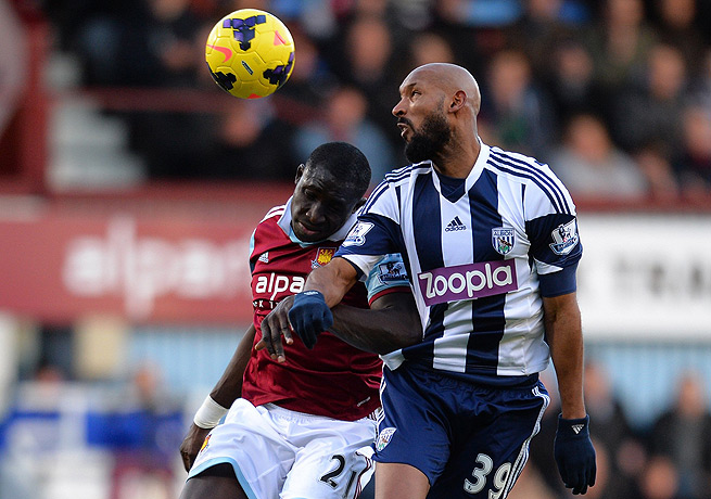 Nicolas Anelka (right) has come under fire for a hand motion he made against West Ham.