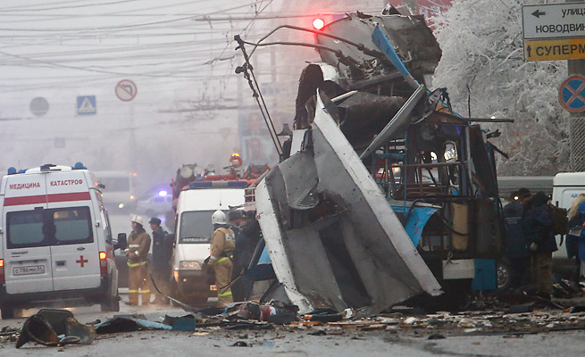 A suicide bomber killed 14 people on a Volgograd bus Monday, the second attack in the city in two days.