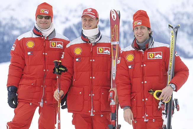 An expert skiier, Michael Schumacher (center) had not taken undue risks when he fell and hit his head.