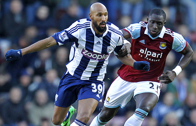 Nicolas Anelka, left, has been banned five games by the FA for making a quenelle gesture.