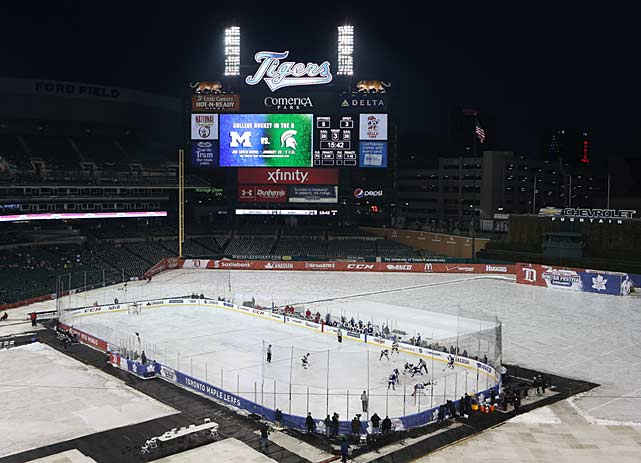 As part of the Michigan edition of the Winter Classic, Detroit's Comerica Park was set up to host a week-long series of Winter Fest events, including college, OHL and AHL games.