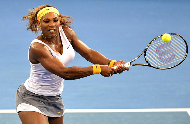 It wasn't a perfect match, but Serena Williams notched her first win of the season over Andrea Petkovic.