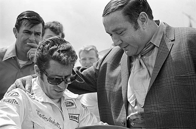 The iconic team of driver Mario Andretti and owner Andy Granatelli in 1970 at Michigan Raceway.
