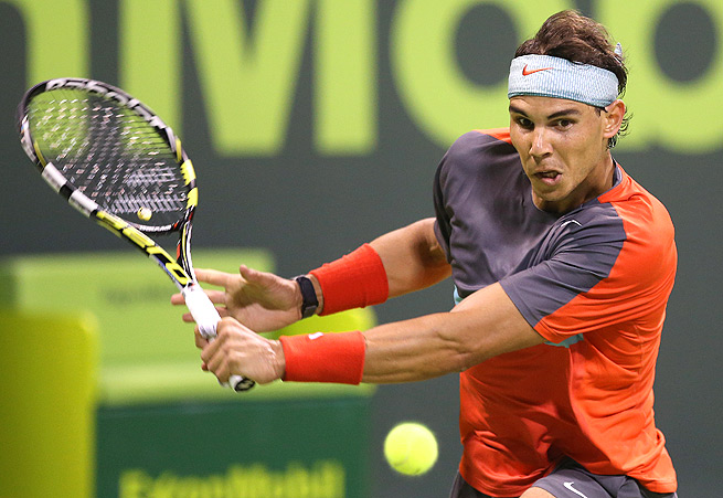 Rafael Nadal faced a test from Lukas Rosol in the second set, but he eventually prevailed 6-2, 7-6 (7).