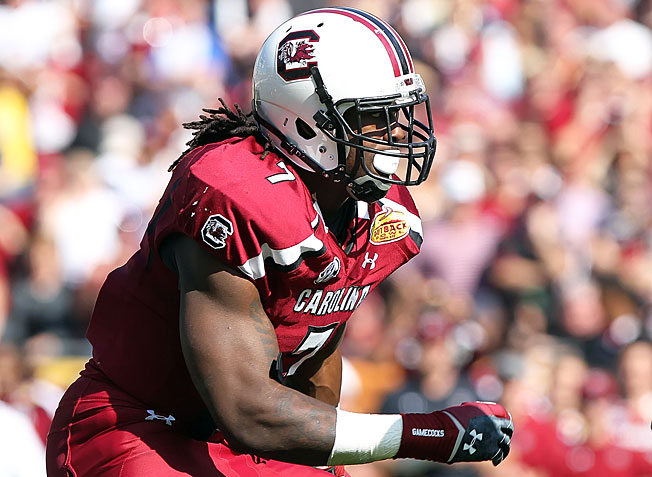 South Carolina's Jadeveon Clowney tallied 13 sacks and 23.5 tackles for loss during the 2012 season.