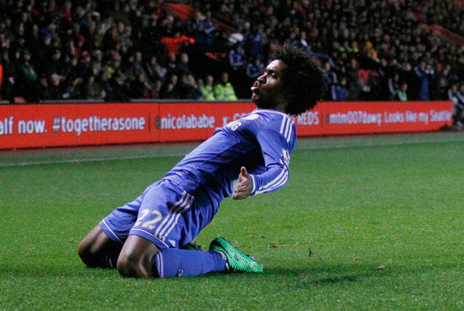 Willian celebrates his goal -- and Chelsea's second -- in Wednesday's 3-0 triumph over Southampton.
