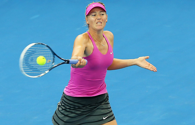 Maria Sharapova survived an ugly first set to breeze by Kaia Kanepi in Brisbane.