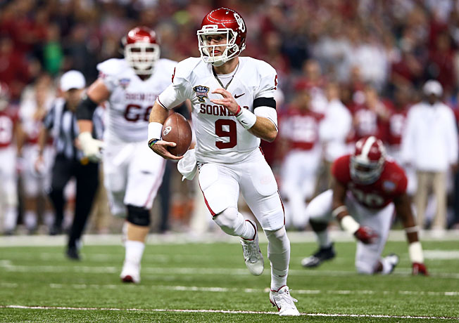 Oklahoma quarterback Trevor Knight (9) torched Alabama in a stunning 45-31 victory in the Sugar Bowl.