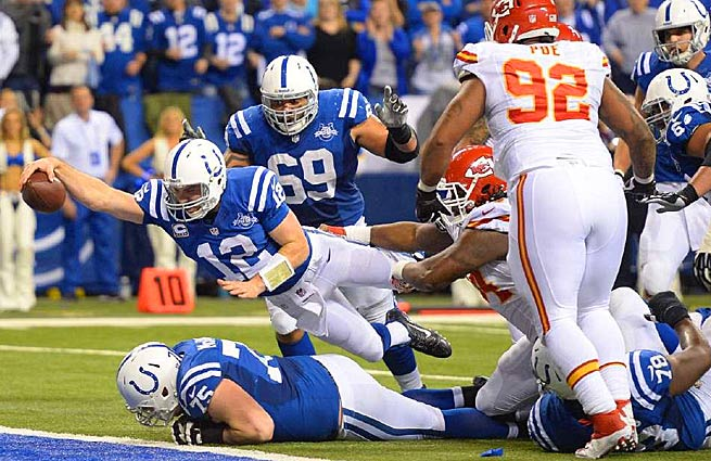 Andrew Luck (12) helped the Colts overcome a 28-point second-half deficit Saturday against the Chiefs. (Andrew Hancock/SI)
