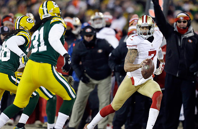 Colin Kaepernick picked up 98 yards on the ground Sunday, including 11 on a key, fourth-quarter scramble.