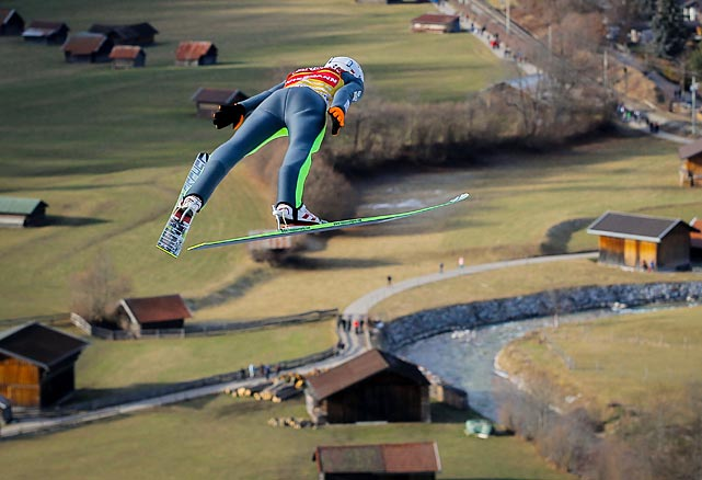 Kamil Stoch of Poland flies through the air during the FIS Ski Jumping World Cup Vierschanzentournee (Four Hills Tournament) in Germany. Stoch has participated in two Olympics.