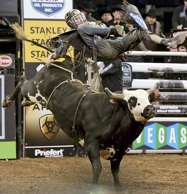 At the Professional Bull Riders Buck Off at Madison Square Garden, Arkansas native Reese Cates rides Happy Trax.