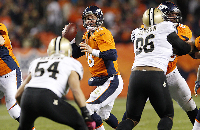 A Broncos-Saints Super Bowl would give Peyton Manning (center) a chance to avenge his 2010 loss to New Orleans.