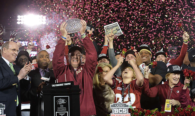 FSU coach Jimbo Fisher had plenty to celebrate after a thrilling win over Auburn in the BCS title game.