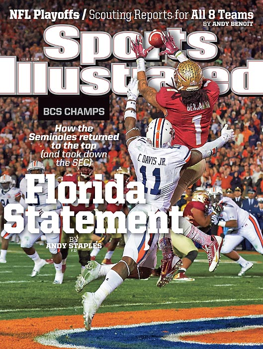 January 13, 2014  |  The SEC's reign of unchallenged dominance is over. Florida State brought that to an end with its 34-31 comeback victory over Auburn in the BCS National Championship Game on Monday night, placing the Seminoles back atop the college football world. Fresh off the win, Florida State adorns the national cover of the Jan. 13 issue of Sports Illustrated. In the cover image, Seminoles wide receiver Kelvin Benjamin leaps into the air to snag the game-winning touchdown pass with 13 seconds remaining. Senior writer Andy Staples shares the story of the game from Pasadena, Calif. ? a dramatic, down-to-the-wire contest in which the Seminoles compiled the largest comeback in the 16-year history of the BCS title game ? and puts the monumental win in context.