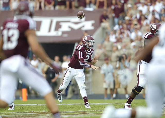 After serving his first-half suspension in Texas A&M's opener against Rice, Manziel completed six of eight passes for three touchdowns in a 52-31 win on Aug. 31, 2013.
