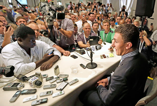Manziel talks with reporters during SEC Media Day in Hoover, Ala., on July 16, 2013.