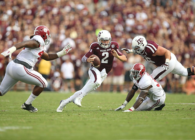 Manziel was his spectacular self against No. 1 Alabama, throwing for a career-best 464 yards with five TDs and running for 98 yards, despite losing to 'Bama 49-42 on Sept. 14, 2013.