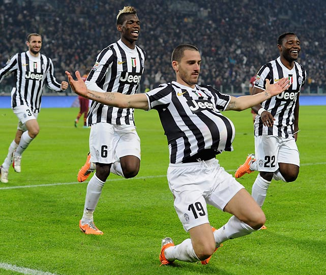 A pregnant moment for Leonardo Bonucci of FC Juventus, who scored during an encounter with AS Roma at Juventus Arena in Turin, Italy.