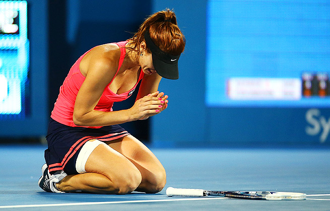 Tsvetana Pironkova celebrates winning her first-ever WTA title at the Sydney International.