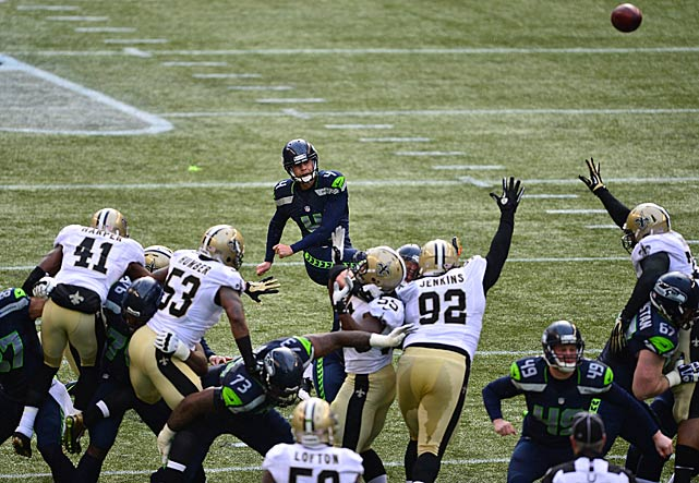 Steven Hauschka kicked a pair of field goals in the first half.