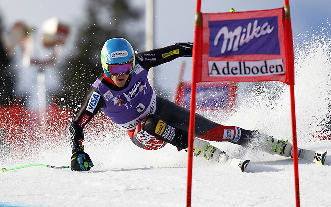 Ted Ligety skied out of his run after losing his balance on Saturday in Switzerland.
