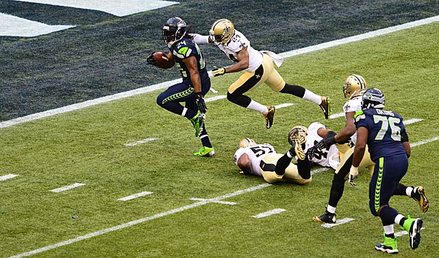 Marshawn Lynch left a trail of Saints in his wake as he scored on this run. Lynch finished with 140 yards and two touchdowns.