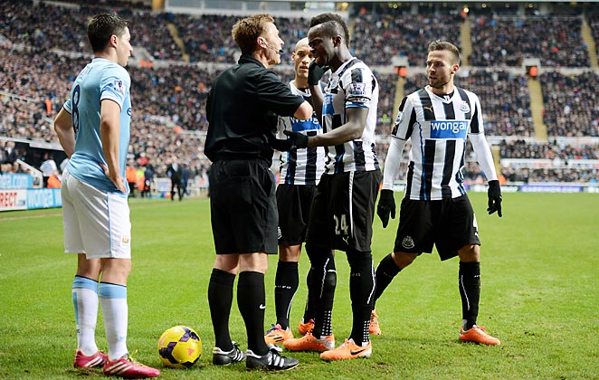 Newcastle felt aggrieved that Chieck Tiote's long-range goal was disallowed against Manchester City on Sunday.