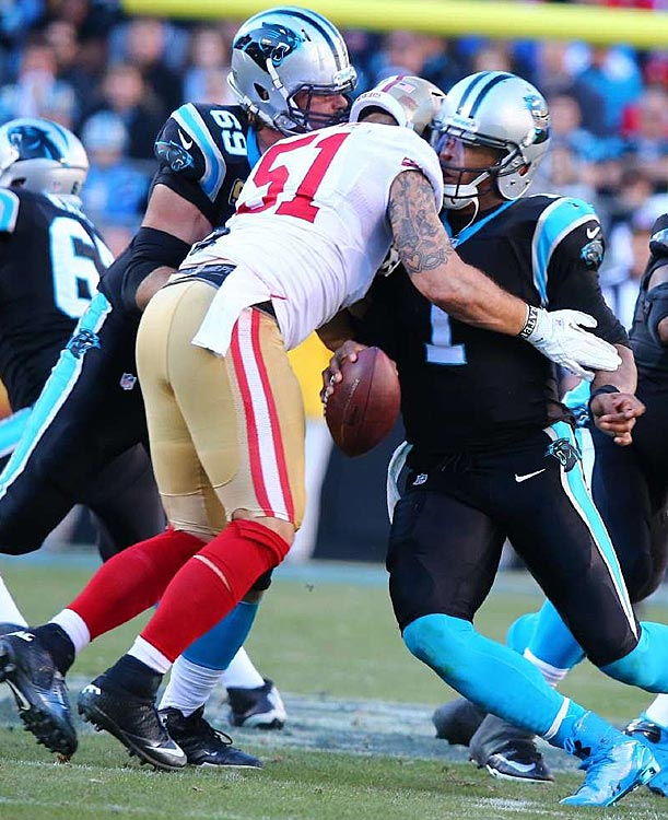 Dan Skuta drew a penalty on this play for tackling Cam Newton when the Carolina quarterback spun into him.