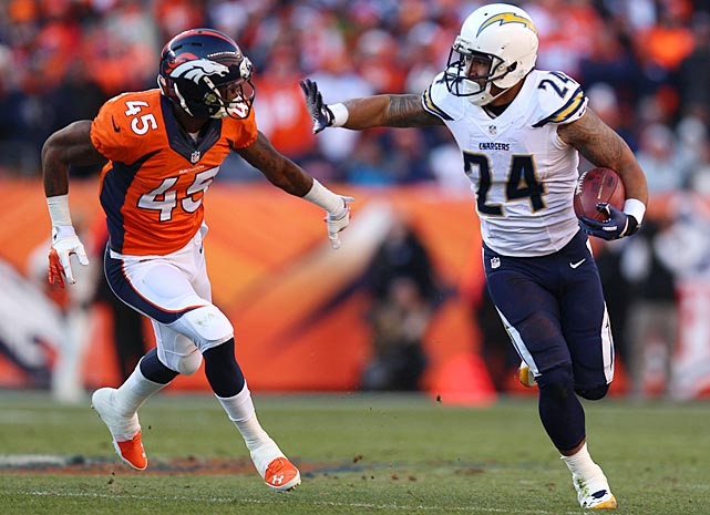 Ryan Mathews got the start at running back for the Chargers, was sidelined with a sore ankle in the second half.