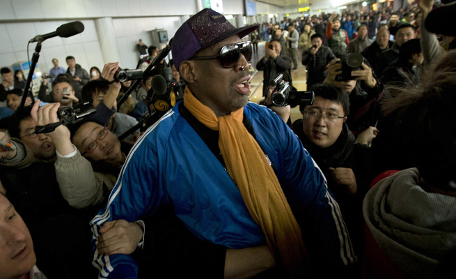 Dennis Rodman and several ex-NBA players have traveled to Korea on a 'goodwill mission' for King-Jong Un's birthday.