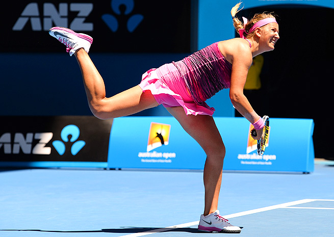 The sun beat down on Victoria Azarenka as she fought for a 7-6 (2), 6-2 round-one win over Johanna Larsson.