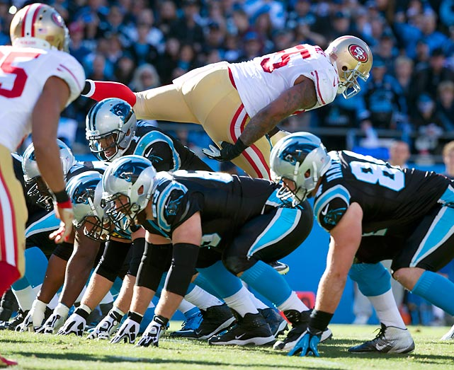 San Francisco 49ers linebacker Ahmad Brooks jumps offside against the Carolina Panthers in a divisional playoff game. San Francisco still won, 23-10.