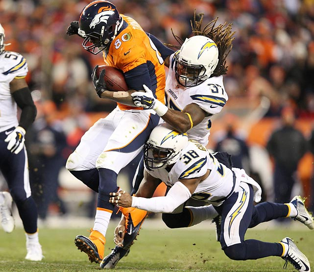 Tight end Julius Thomas attempts to shed two Chargers defenders during Sunday's AFC Divisional Playoff game. Thomas finished the contest as Denver's leading receiver with six catches for 76 yards in a 24-17 victory.
