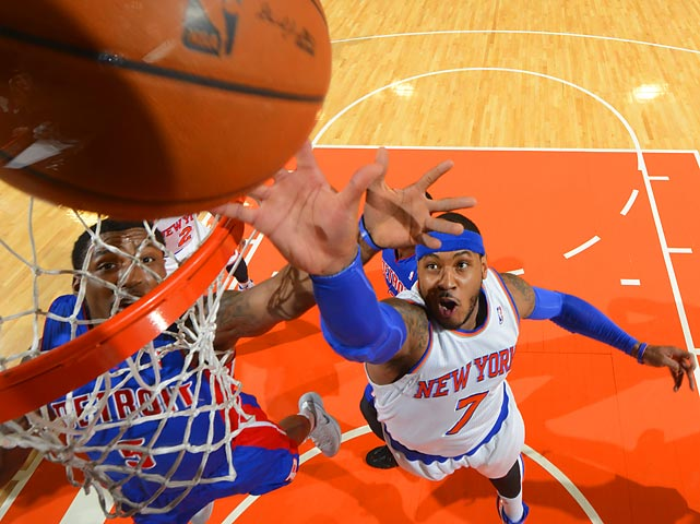 New York Knicks forward Carmelo Anthony attempts to score as Kentavious Caldwell-Pope of the Detroit Pistons defends. Led by 34 points from Anthony, the Knicks earned an 89-85 victory.