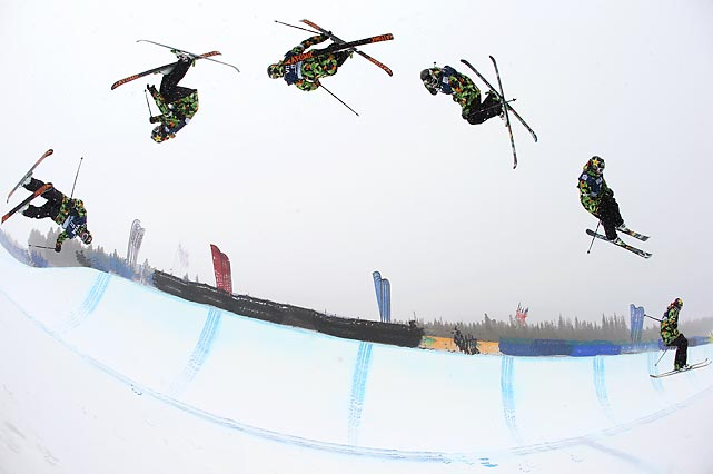 Mike Riddle of Canada warms up prior to the freeskiing halfpipe final of the Jan. 8 U.S. Grand Prix Halfpipe in Breckenridge, Colo. His jump is shown in multiple exposures.