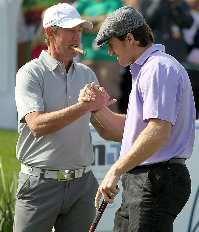 """""""The Great One"""" congratulates Brees during the final round of the 10th Annual Michael Jordan Celebrity Invitational hosted by ARIA Resort & Casino At Shadow Creek on April 3, 2011 in Las Vegas."""