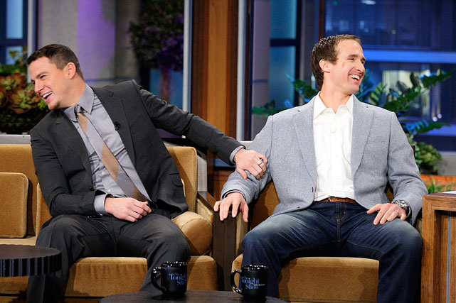 """Channing Tatum and Brees laugh during an interview on """"The Tonight Show with Jay Leno"""" on March 14, 2012."""
