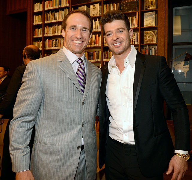 Brees and Robin Thicke attend the Samsung's Annual Hope for Children Gala at Cipriani's in Wall Street on June 11, 2013 in New York City.