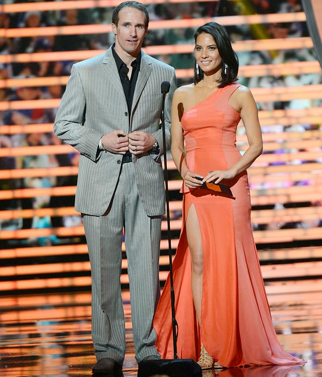 Brees and Olivia Munn speak onstage during the 2nd Annual NFL Honors at the Mahalia Jackson Theater on Feb. 2, 2013 in New Orleans.