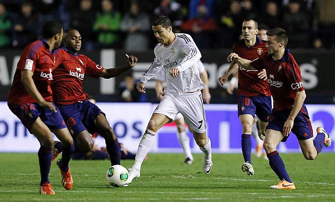 Cristiano Ronaldo scored Real Madrid's first goal in a 2-0 second-leg victory over Osasuna.